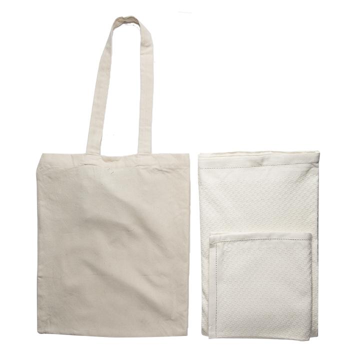 Sac avec nappe et 4 serviettes en coton 100% 150x150 cm