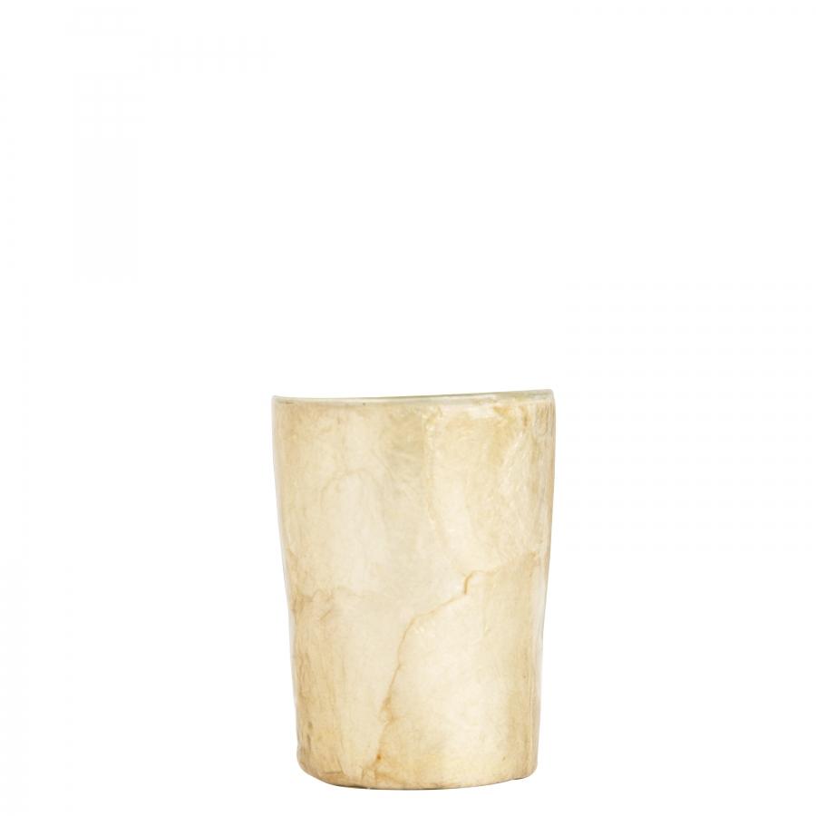 Bicchiere in madreperla colore nocciola d7 h9.5 cm