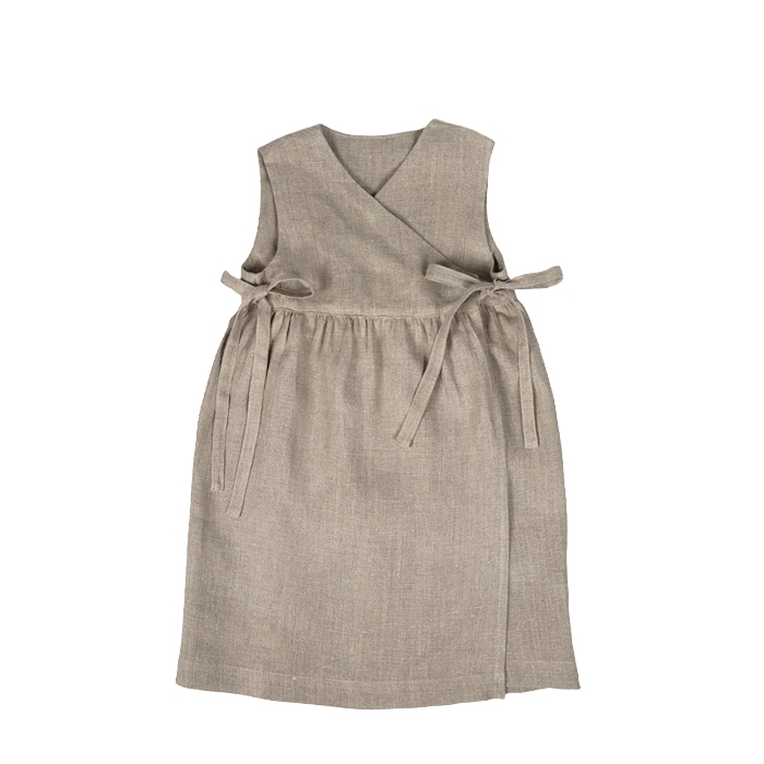 100% linen baby dress with pockets 5 years