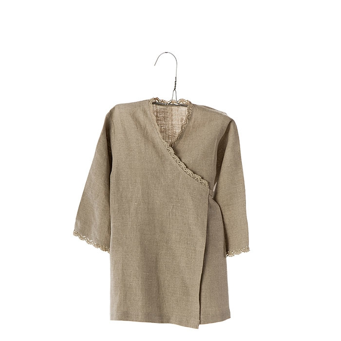100% linen baby kimono with lace