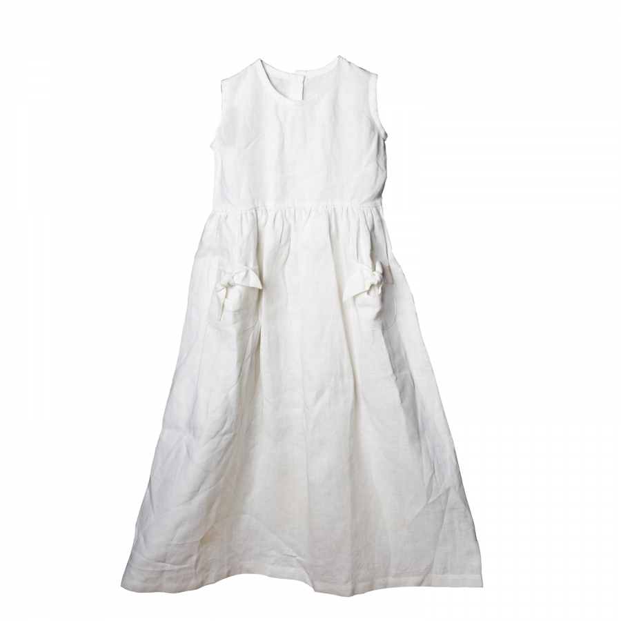 100% white linen baby dress with 2 pockets 5 years