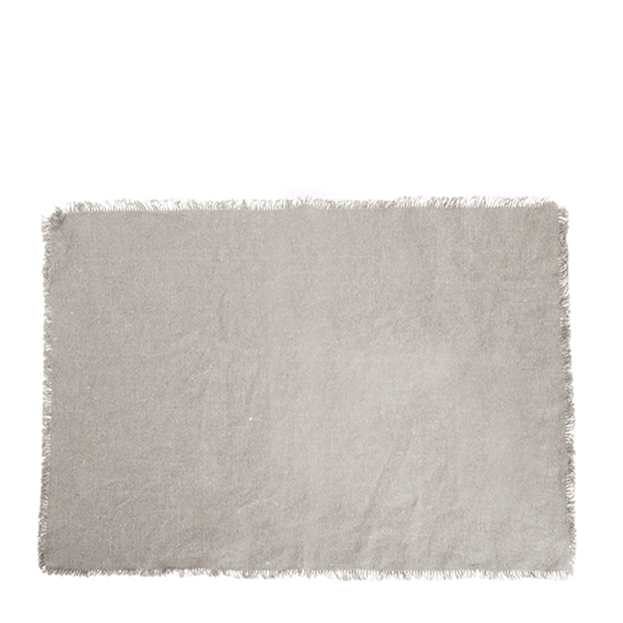 100% natural linen placemat with fringes 35 x 50 cm