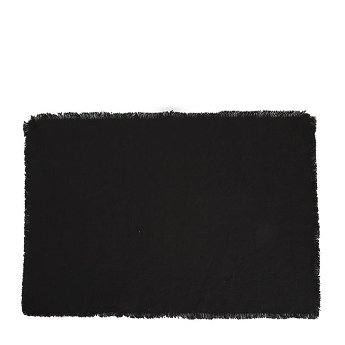 Black 100% linen placemat with fringes 35 x 50 cm