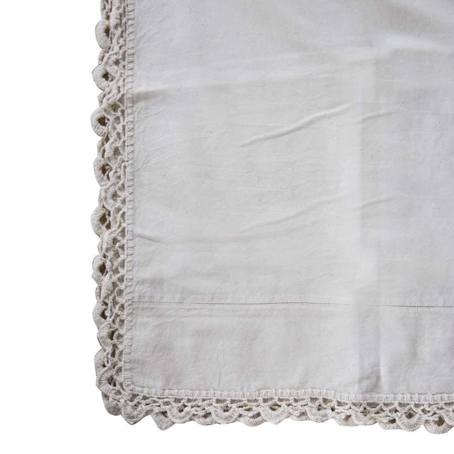 Telo cotone panna bordo uncinetto 160 x 260 cm