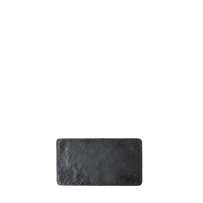 Black small tray in artificial stone 17.6 x 32.5 cm