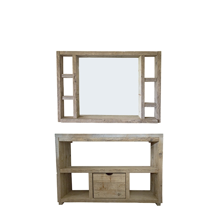 Plank 90 Cm.Natural Raw Plank Mirror With Lateral Shelves 130 X 90 Cm