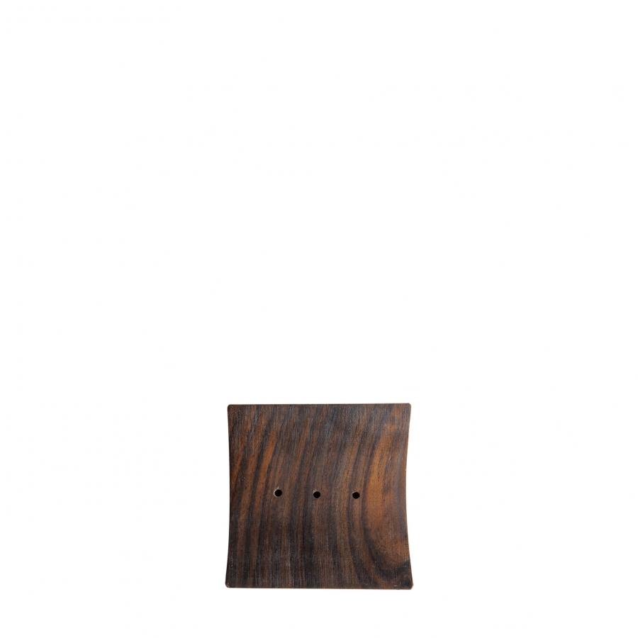 Portasapone legno scuro quadro 9 cm