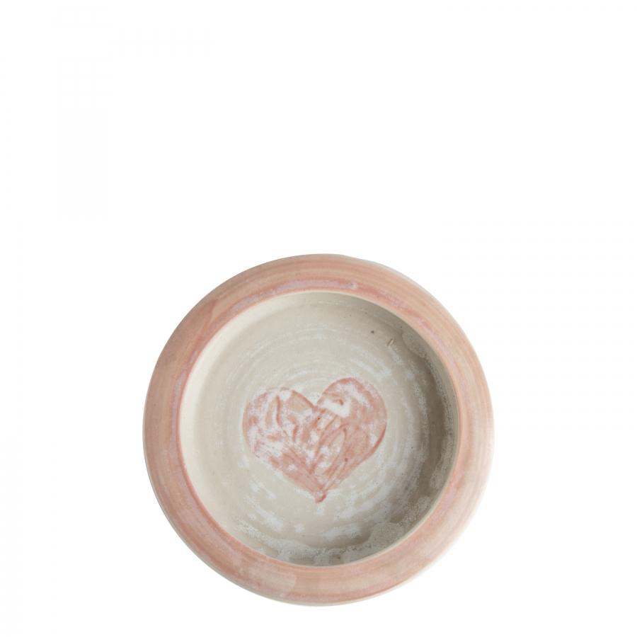 Piattino bimba in gres panna cuore rosa