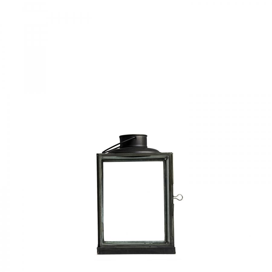 Lanterna ferro e vetro rettangolare scura 15 x 15 h23 cm