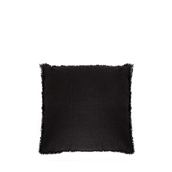 Fodera 100% lino grezzo colore nero frange 40 x 40 cm