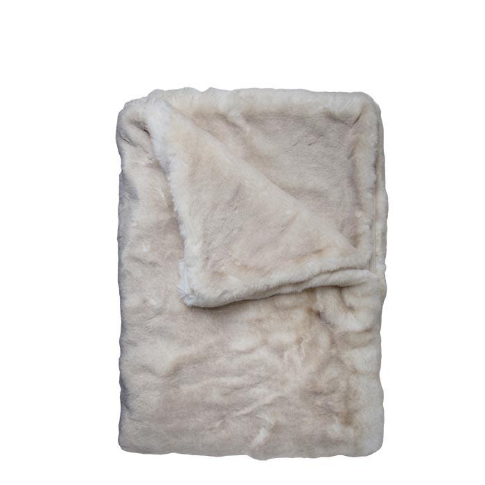 Couverture fourrure blanc/lin 130 x 160cm