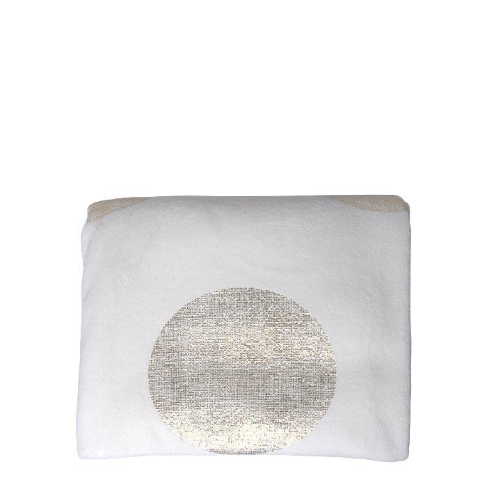 Couverture en polaire blanc avec pois or 130 x 160 cm