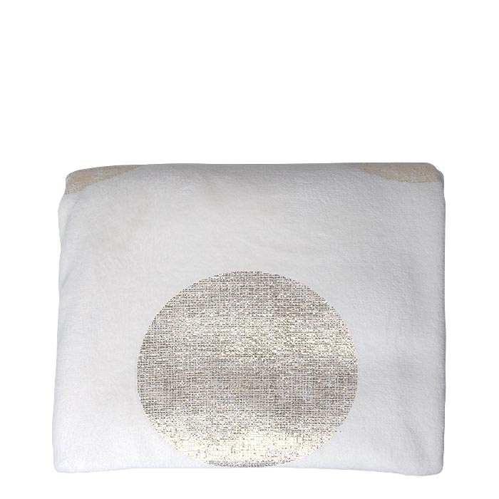 White pile blanket with golden dots 160 x 240 cm