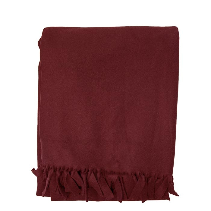 Maxi red pile blanket with thin fringes 180 x 210 cm