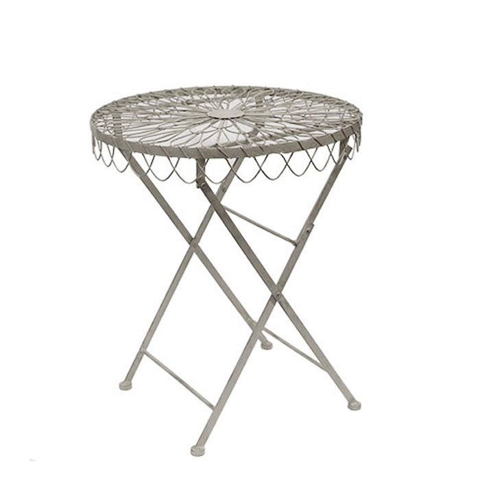 Grey inlaid iron table d60 h70.5 cm