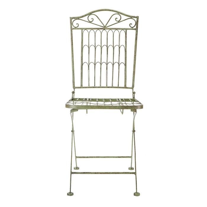 Chaise marquetee verte en fer h96 cm