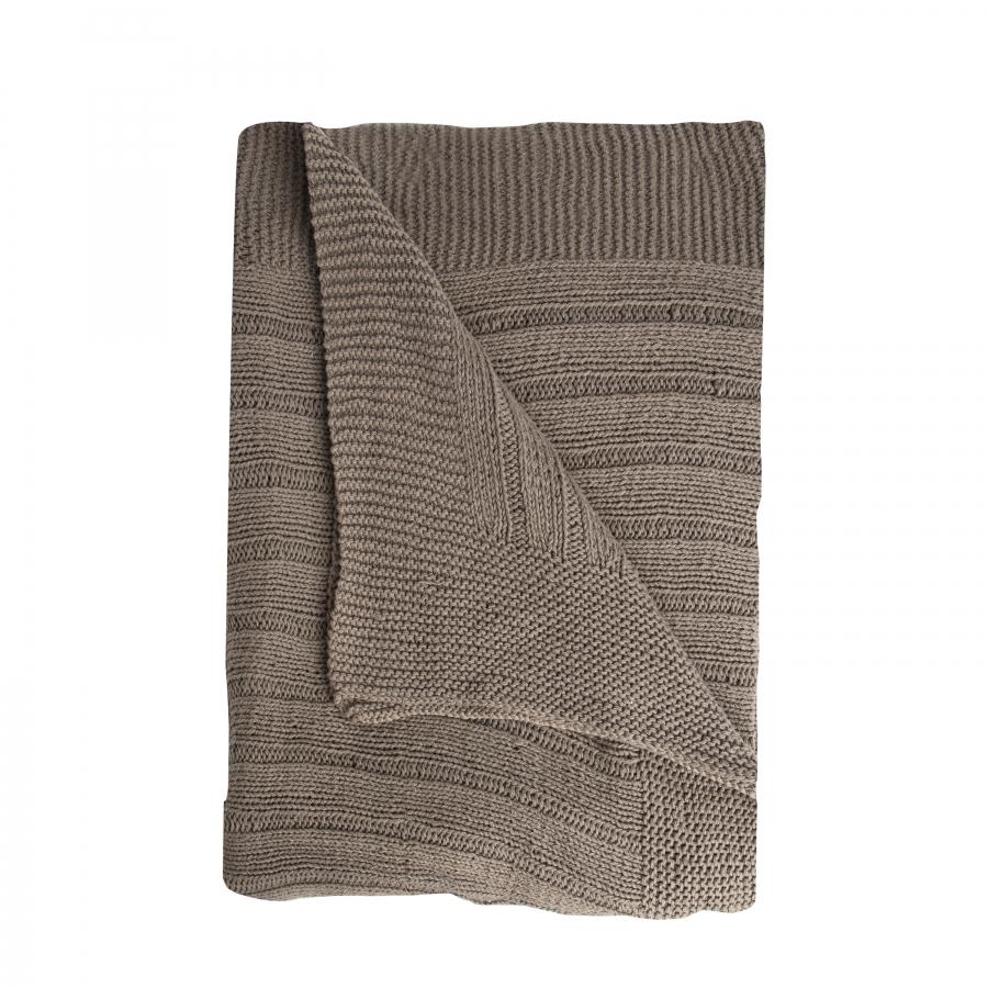 Couverture carre en 100% coton cotele couleur boue 130x130 cm