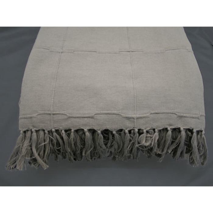 Telo matrimoniale cotone quadri col. lino frange 240 x 340 cm
