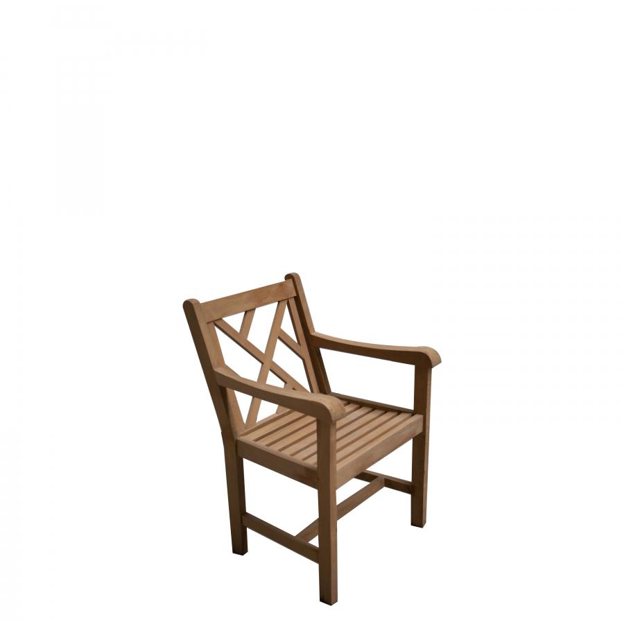 Sedia resistente in teak con schienale a listelli diagonali da esterno