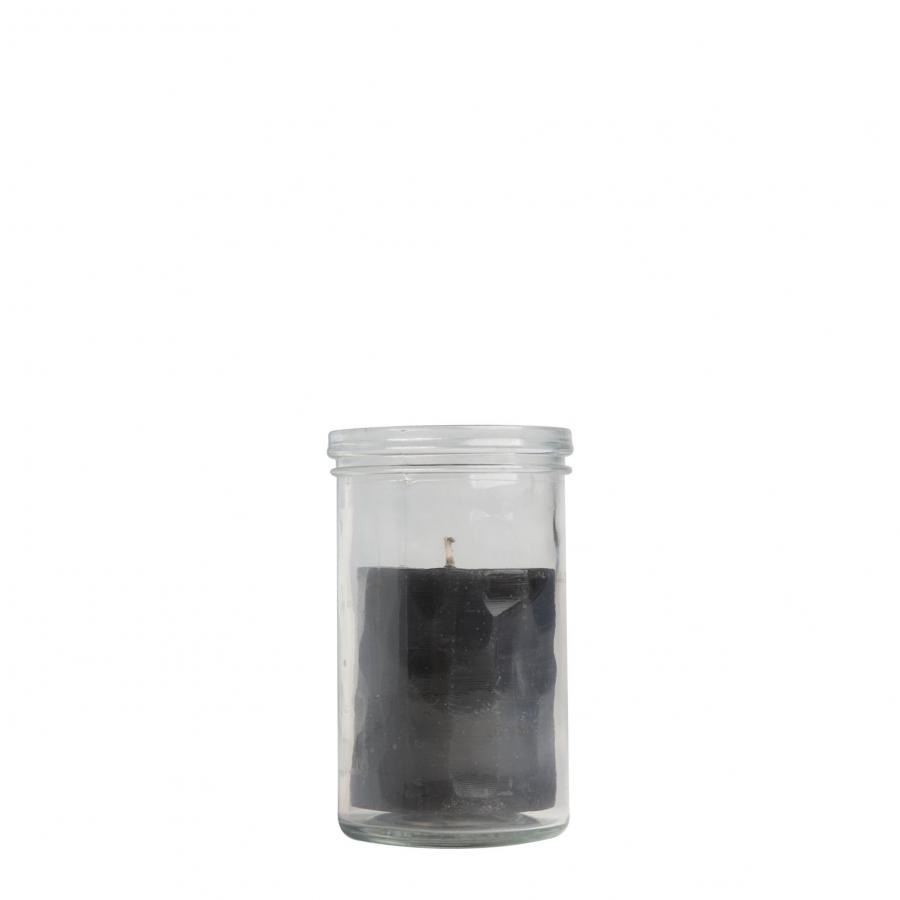Candela sfaccettata nera in barattolo h15 cm