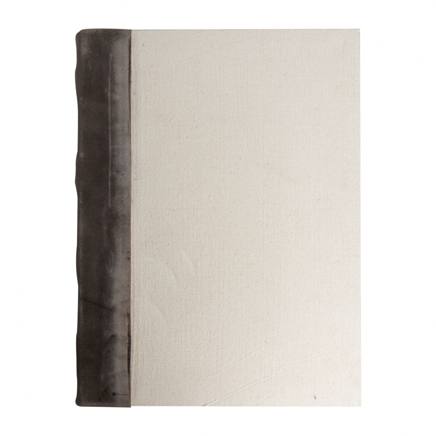 Recycled paper cream notebook with side leather