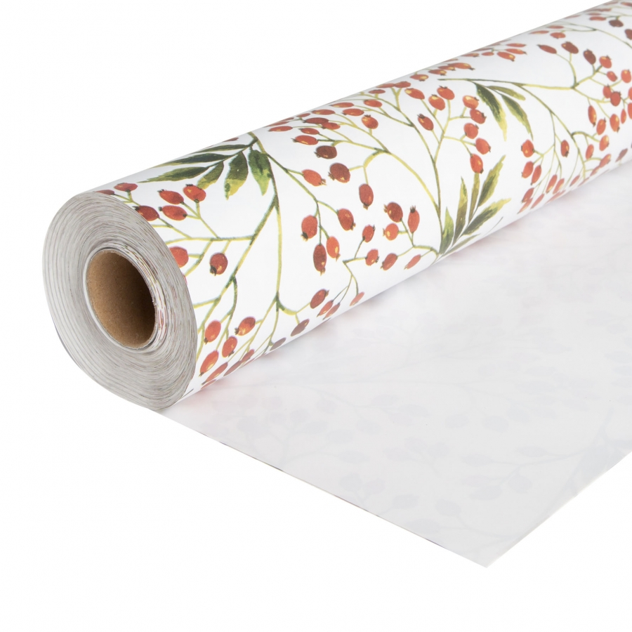 White paper roll with red berries 50m x 70 cm