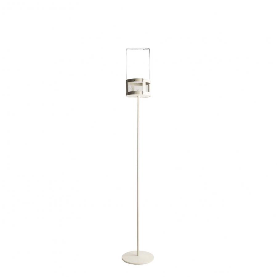 White iron candle-holder + borosilicate glass cylinder h130cm
