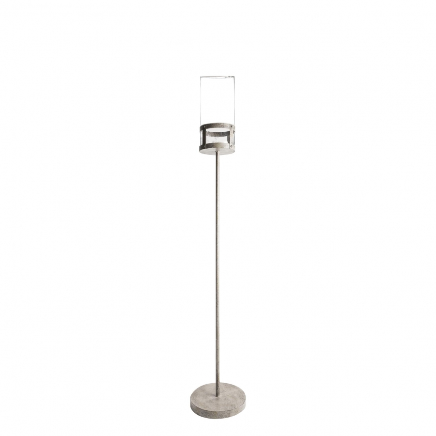 Grey iron candle-holder + borosilicate glass cylinder h130cm