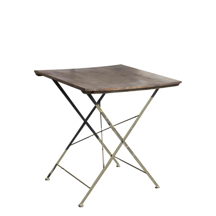 Cafe bistrot wooden & iron square table 70 x 70 h78