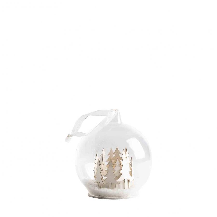 Sphere en verre avec led, neige et bois a l'interieur et batteries d48 cm