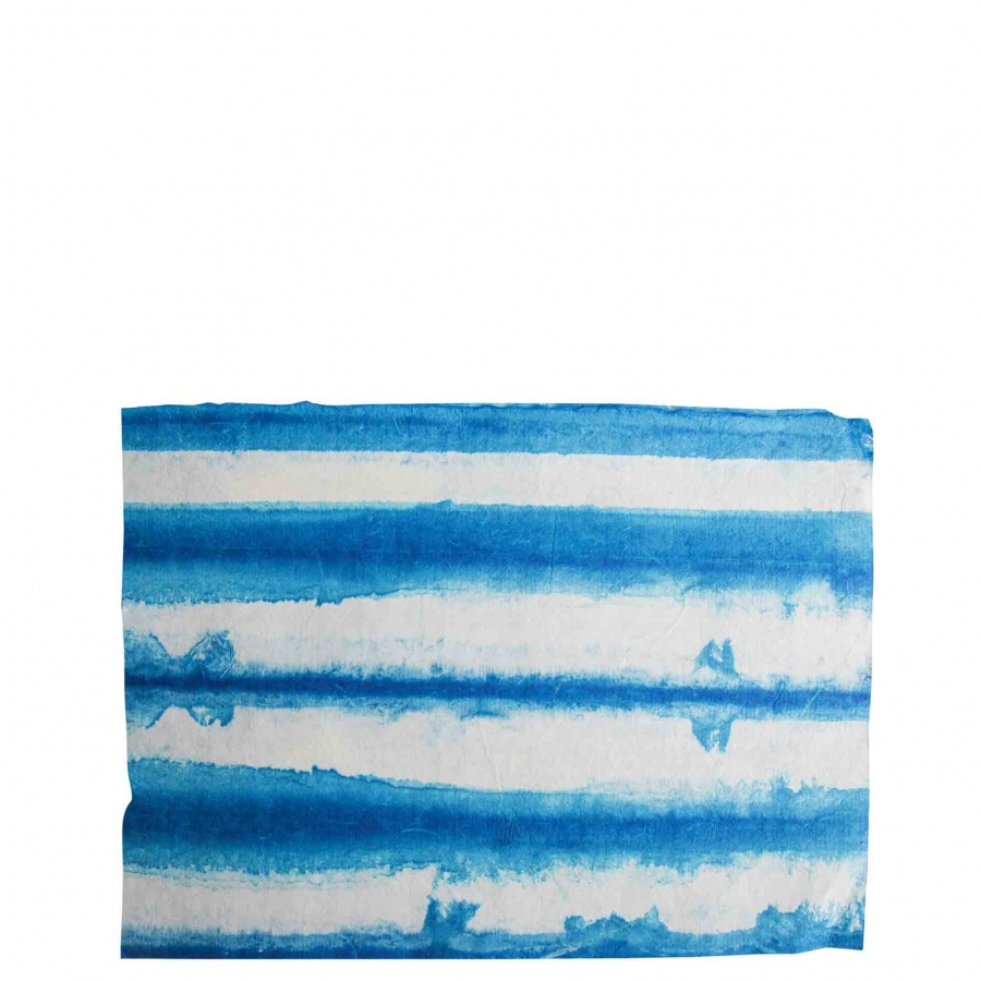 Handmade paper placemat with blue/white stripes 31.5 x 47 cm