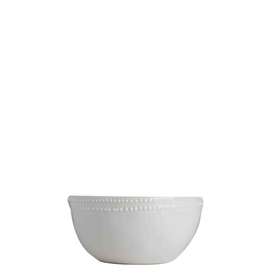 Ciotola porcellana bianca bordo puntini d13 cm