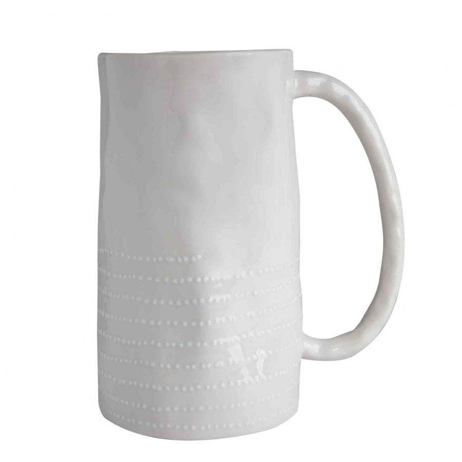 Brocca porcellana bianca puntini d12.5 h21 cm