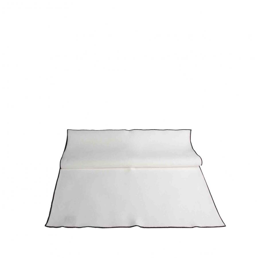 100% white linen runner with black edge