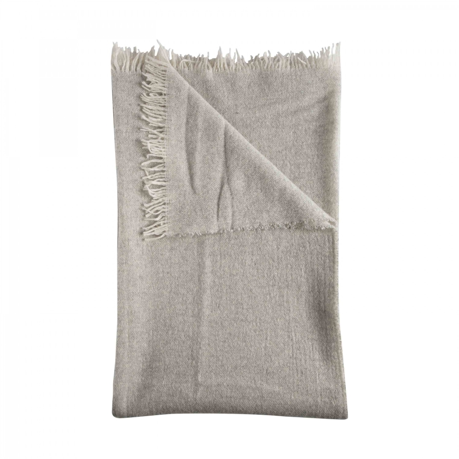 100% grey cashmere blanket with fringes 130 x 180 cm