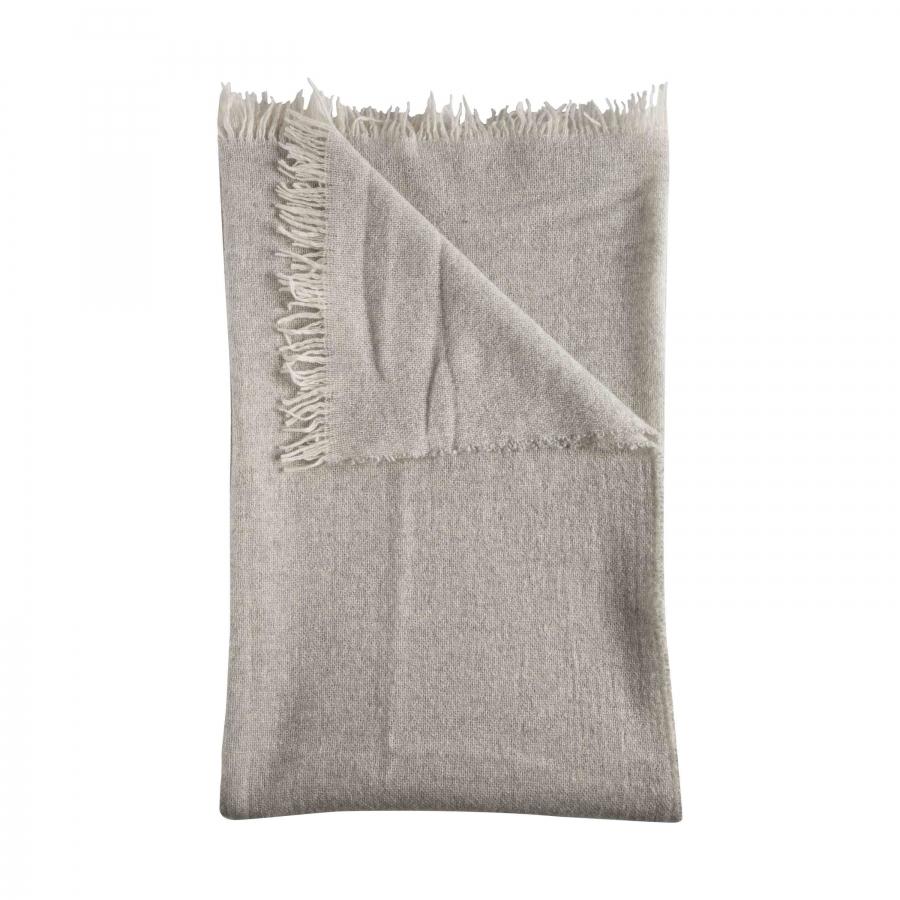 Couverte 100% cachemire gris avec franges 130 x 180 cm