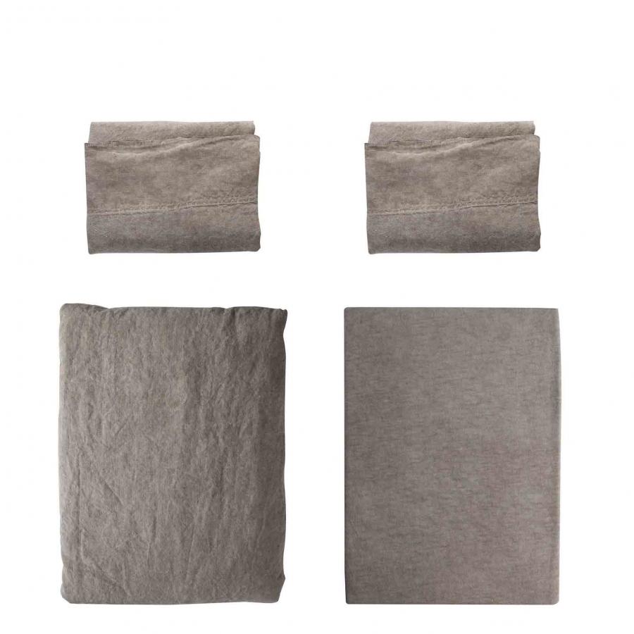 Parure double feuilles 50% lin/cotton marron washed 250 x 240 cm