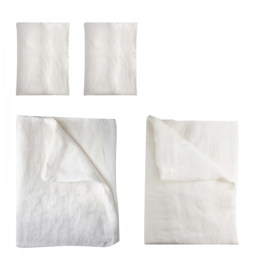 Parure double feuilles 100% lin blanc 250 x 200 cm