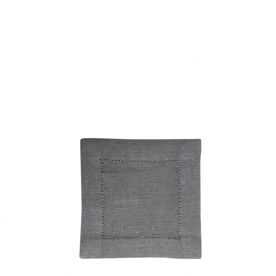 100% linen dark grey square with hemstitch 15 x 15 cm