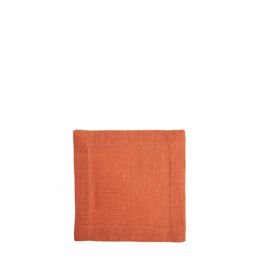 Carre 100% lin orange avec ourlet a jour 15x15 cm