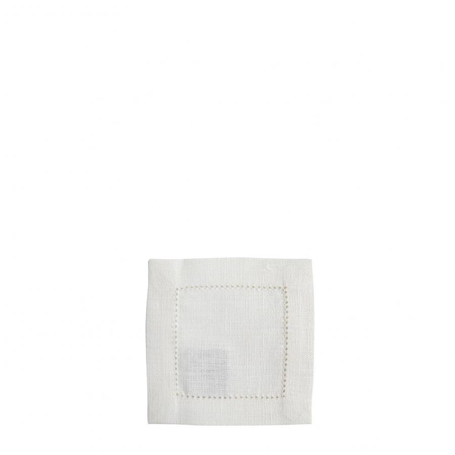 Carre 100% lin blanc avec ourlet a jour 12x12 cm