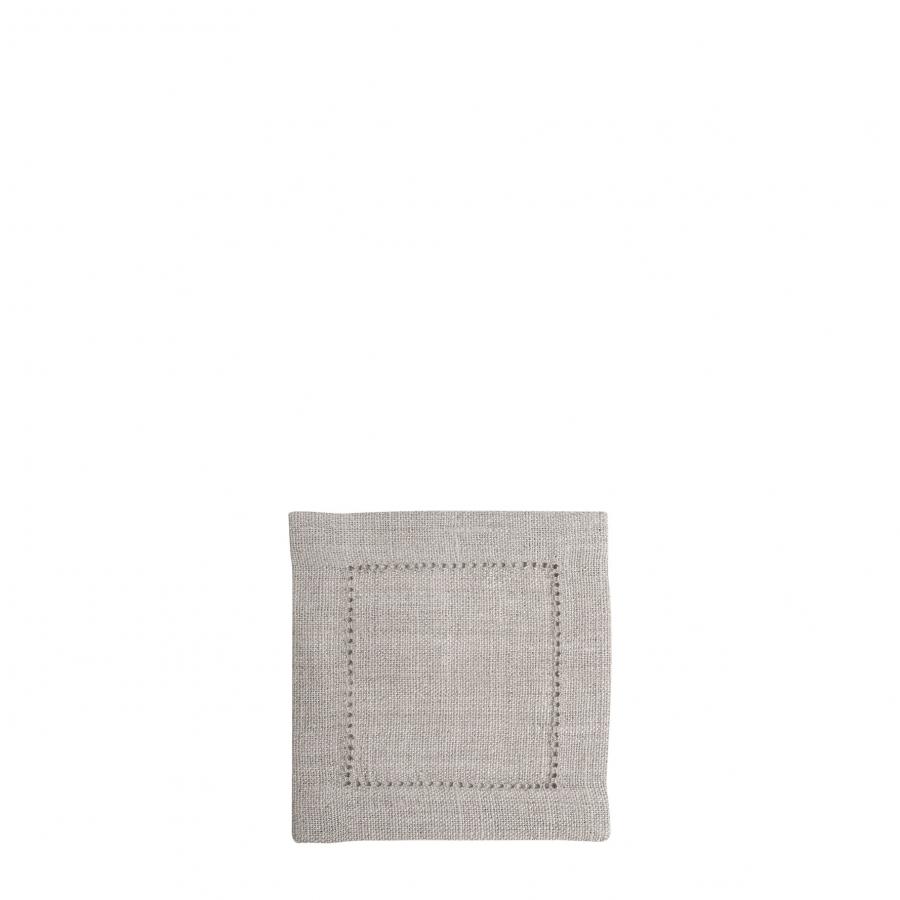 Carre 100% lin naturel avec ourlet a jour 12x12 cm