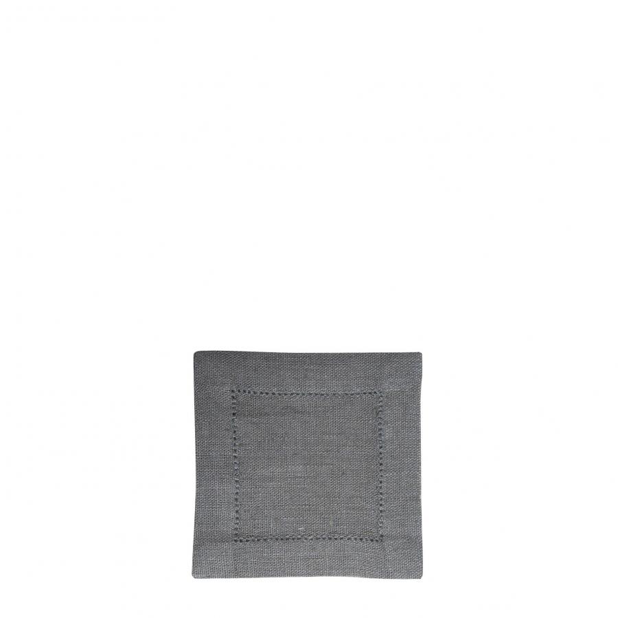 Carre 100% lin gris fonce avec ourlet a jour 12x12 cm