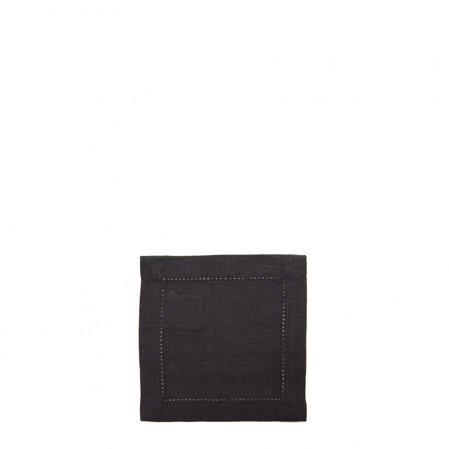 Carre 100% lin noir avec ourlet a jour 12x12 cm