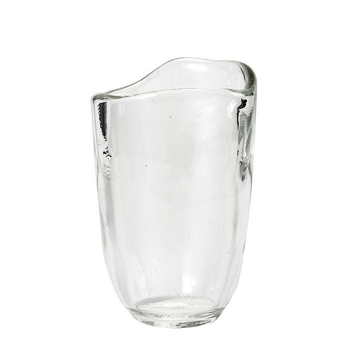 Vaso vetro cilindrico spesso bordo irregolare h26 cm