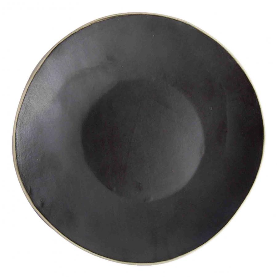 Piatto piano in gres nero bordo naturale d35 cm