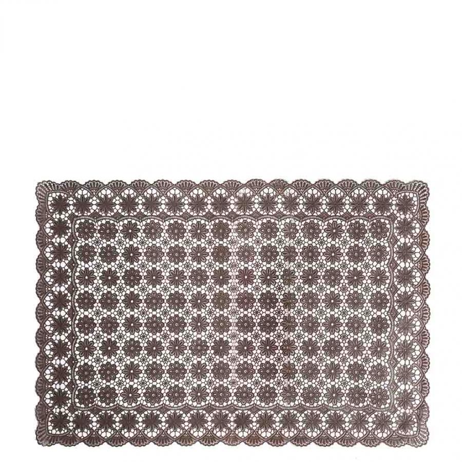 Chocolate vinyl waterproof placemat flower decoration 36 x 53 cm