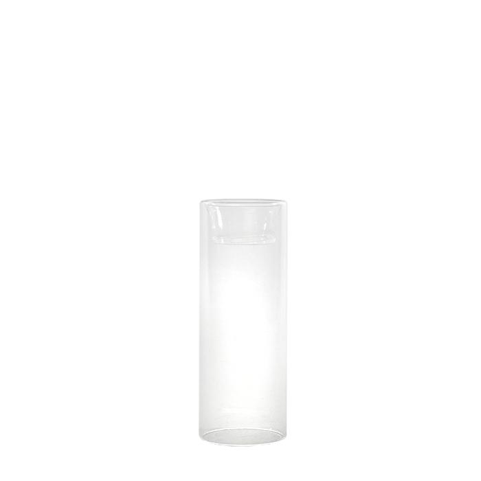 Borolicate glass cylinder vase/tealight holder double use h16 cm