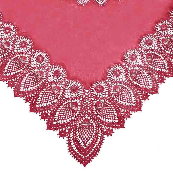 Cherry square vinyl lace waterproof tablecloth 137 x 137 cm