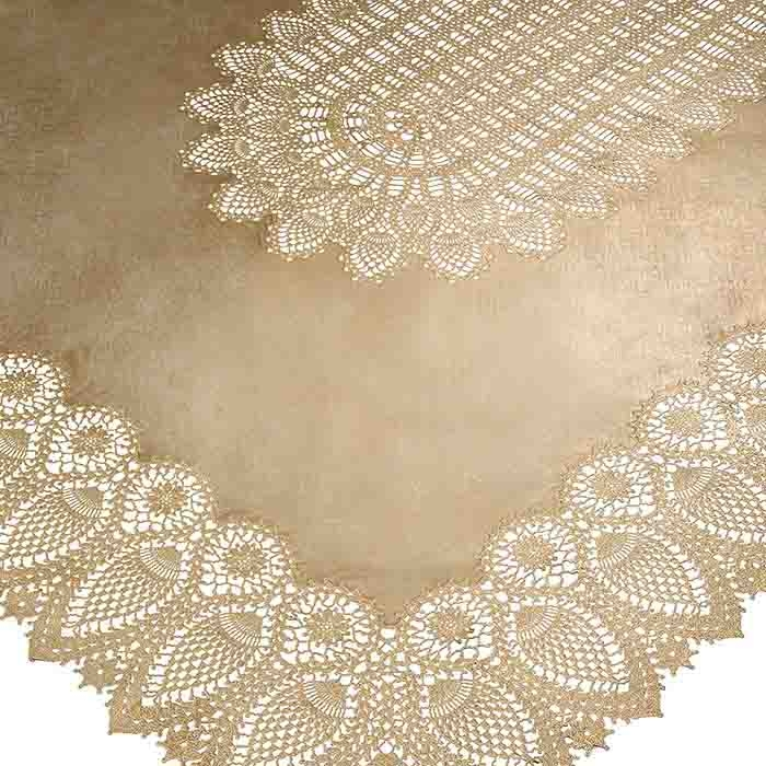 Gold vinyl lace waterproof tablecloth 150 x 264 cm